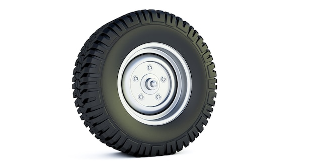 Rendering 3d della ruota automobilistica isolato su uno spazio bianco. pneumatico.