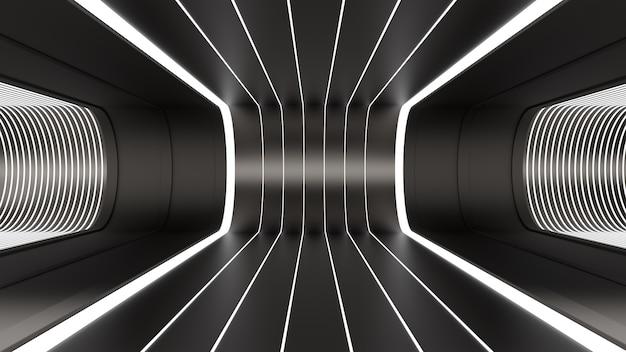 3d render sfondo tunnel stanza spazio illuminazione riflessi nero bianco linee di profondità pavimento piegato
