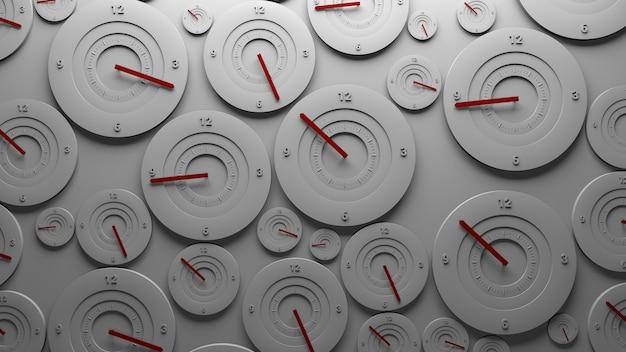 Sfondo di rendering 3d. il muro pieno di orologi mostra il tempo casuale. termine e concetto di velocità.
