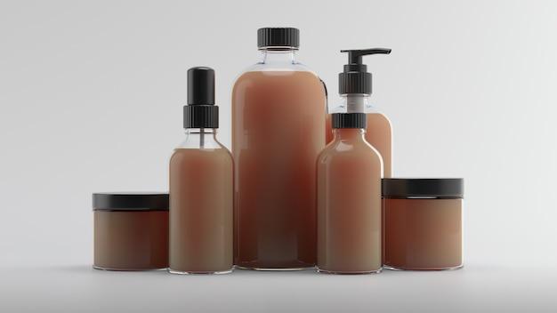 Rendering 3d di bottiglie di bellezza. fondo cosmetico della bottiglia 3d. set di boccette per la cura del corpo con liquido astratto su sfondo bianco riflettente.