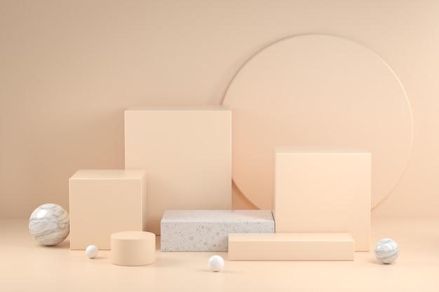 3d render beige podio raccolta illustrazione sfondo astratto