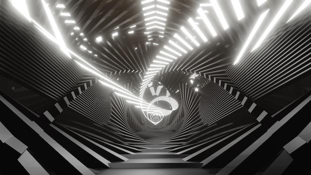 3d rendono lo sfondo geometrico nero con luci a led bianche
