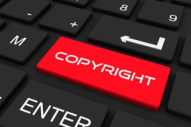 Rendering 3d. tastiera nera con chiave di copyright, priorità bassa di concetto di affari e tecnologia