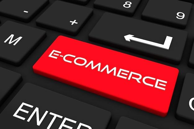 Rendering 3d. tastiera nera con chiave e-commerce, priorità bassa di concetto di affari e tecnologia
