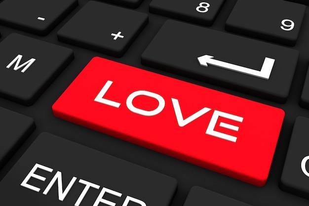Rendering 3d. tastiera nera con chiave d'amore, ricerca del concetto di amore.