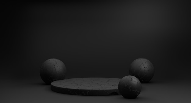 3d rendono il podio minimalista nero e le palle nere su fondo bianco