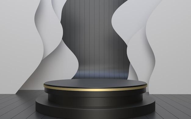 3d render palco podio nero per la visualizzazione del prodotto con sfondo ondulato