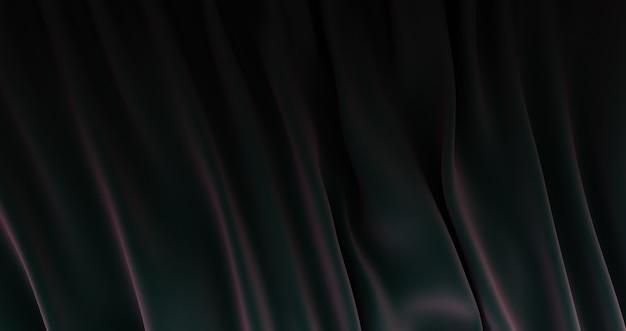 Rendering 3d di sfondo tessuto di seta nera., sfondo trama, raso nero profondo