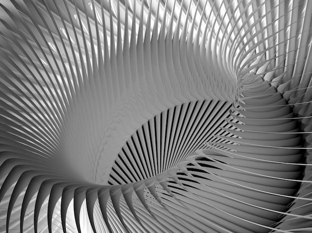 3d rendono di astrattismo in bianco e nero di fondo 3d con la parte del motore a propulsione industriale meccanico surreale della turbina