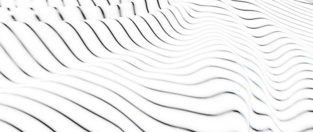 Rendering 3d di panno bianco e nero. lamina olografica iridescente. sfondo di moda arte astratta.