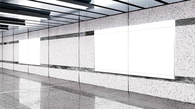 Rendering 3d. tabellone per le affissioni in bianco nella metropolitana. utile per la tua pubblicità.