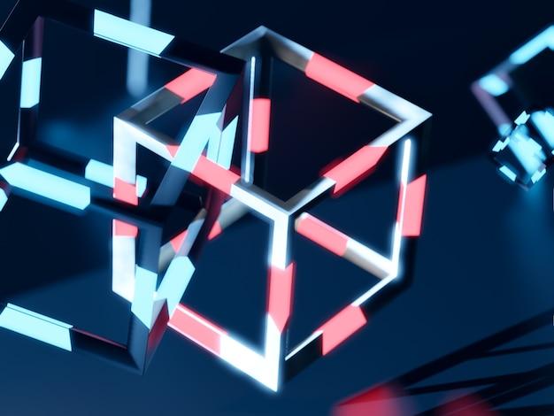 Rendering 3d di blochain cobes in luce blu al neon. grande concetto di dati. intelligenza artificiale. astratto