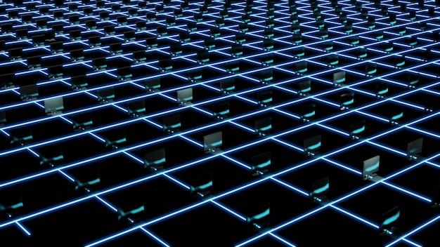 Rendering 3d di blochain con computer, mining farm di criptovaluta. grande concetto di dati. artificiale