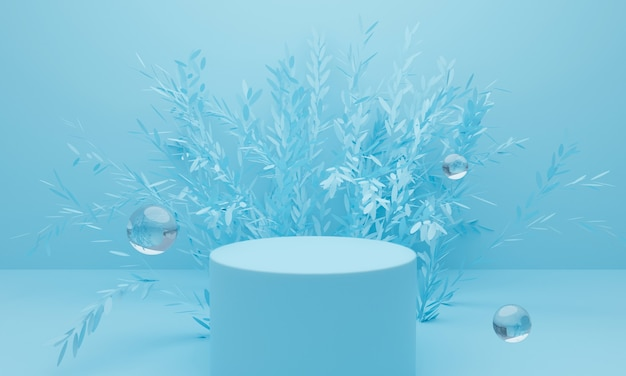 Rendering 3d di sfondo blu astratto con display podio e albero.