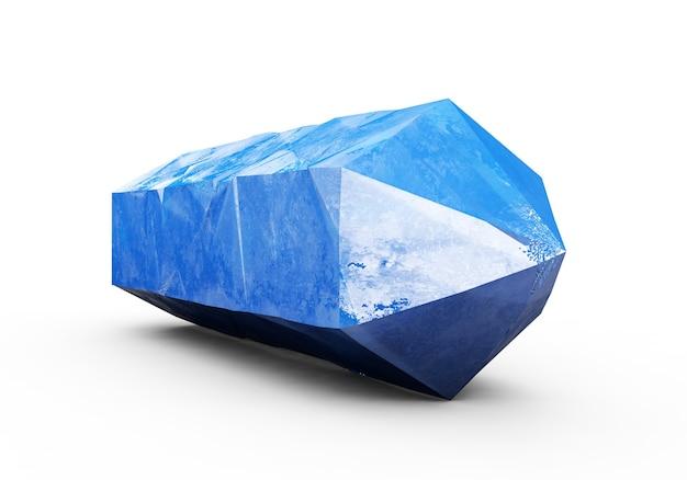 Rendering 3d, cristallo blu isolato su sfondo bianco, gemma, pepita naturale, accessorio esoterico