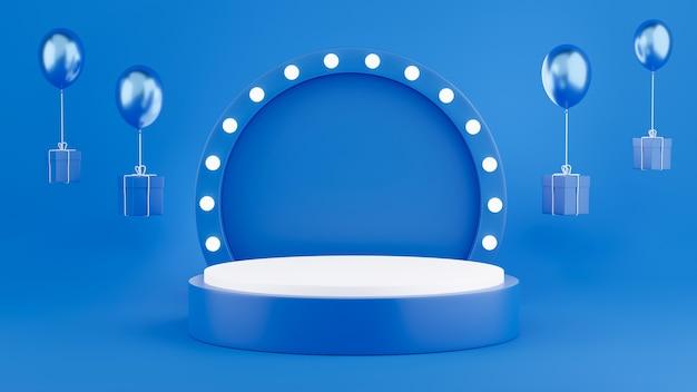 Rendering 3d del podio blu con decorazioni per l'esposizione del prodotto