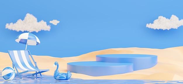 Rendering 3d del podio blu con sfondo spiaggia estiva per la visualizzazione del prodotto