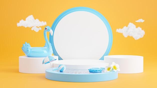 Rendering 3d di podio blu con spiaggia estiva, spiaggia ombrellone, plumeria, fenicottero blu gonfiabile, concetto di piscina per l'esposizione del prodotto