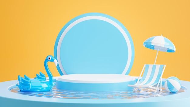 Rendering 3d di podio blu con estate, spiaggia sedia, spiaggia ombrellone, fenicottero blu gonfiabile, concetto di piscina per l'esposizione del prodotto