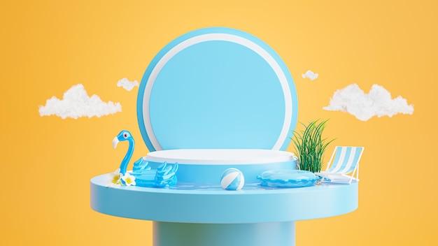 Rendering 3d di podio blu con estate, spiaggia sedia, spiaggia ombrellone, plumeria, fenicottero blu gonfiabile, concetto di piscina per l'esposizione del prodotto