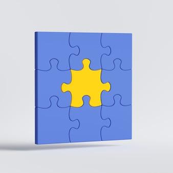 Rendering 3d del gioco di puzzle blu con pezzo centrale giallo nel mezzo