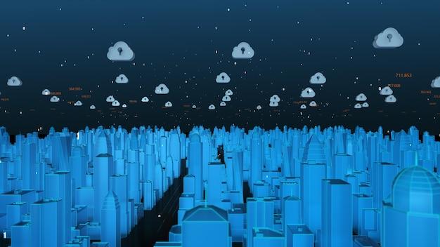 3d rendono il concetto futuristico della città astuta blu e della rete di cloud computing