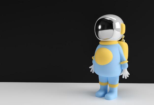3d rendono la progettazione blu dell'illustrazione del cosmonauta dell'astronauta dell'astronauta 3d.