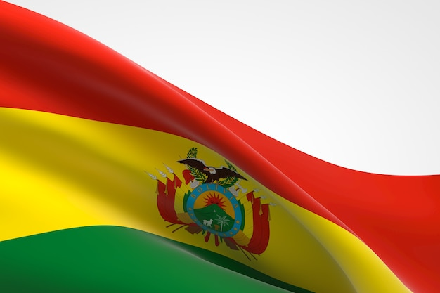 Rendering 3d dell'ondeggiamento della bandiera boliviana.