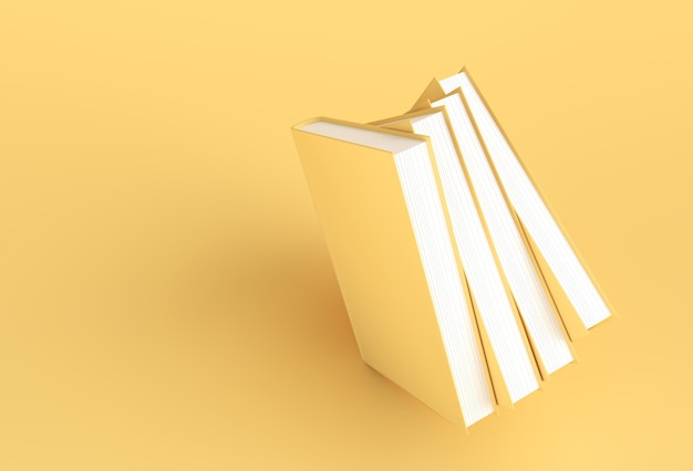 3d render libri pila di copertine di libri bookmark mockup style design.