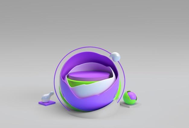Rendering 3d della scena della palla rotta della scena del podio minima per il design pubblicitario dei prodotti di visualizzazione.