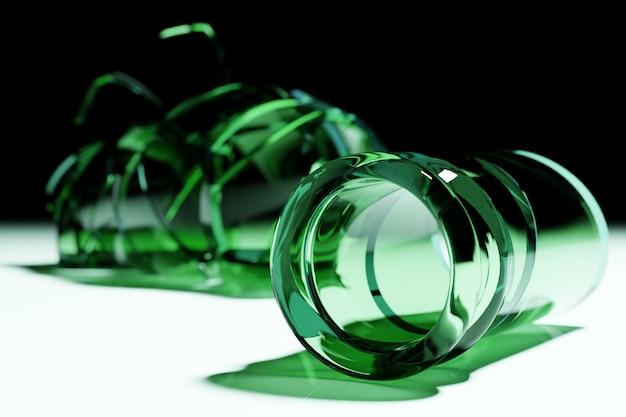 3d render broken glass bottiglia di birra verde realistica mock up, illustrazione 3d graphic design.
