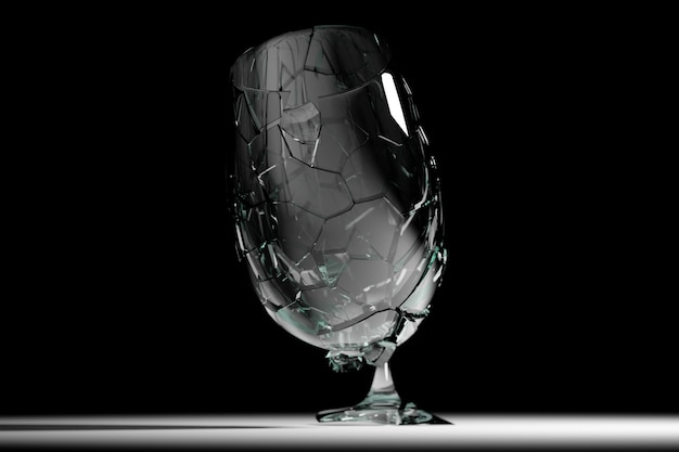 3d render broken glass bicchiere da vino realistico mock up, illustrazione 3d graphic design.