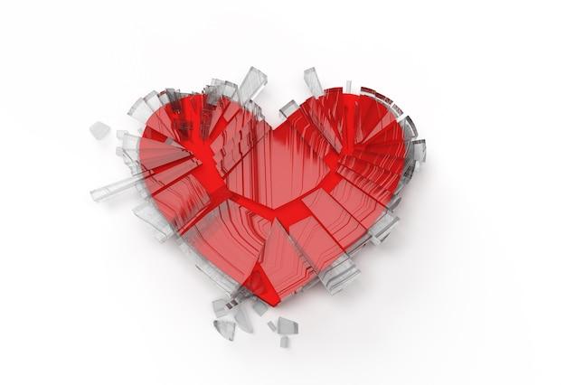 3d rendono il simbolo di amore del cuore spezzato. illustrazione 3d del segno di san valentino progettazione grafica.