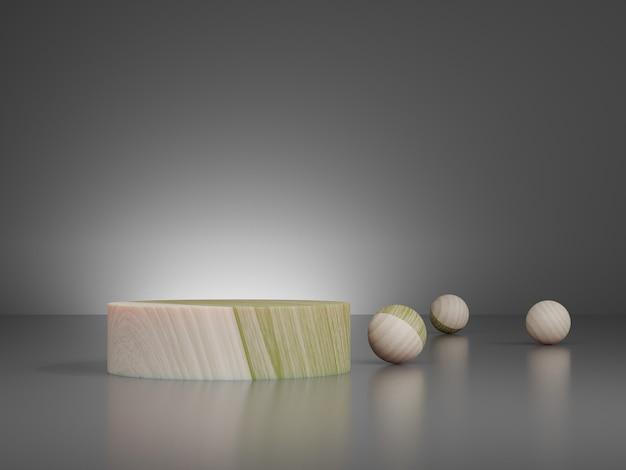 Rendering 3d di gradini piedistallo in legno marrone con palla di legno sul pavimento su sfondo grigio
