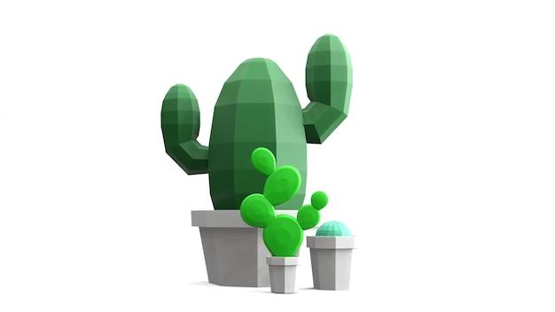 3d render cactus basso poligono