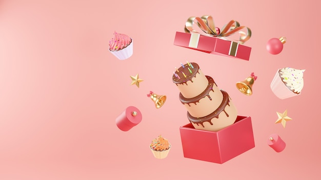 Rendering 3d di torta che galleggia fuori dalla confezione regalo con decorato