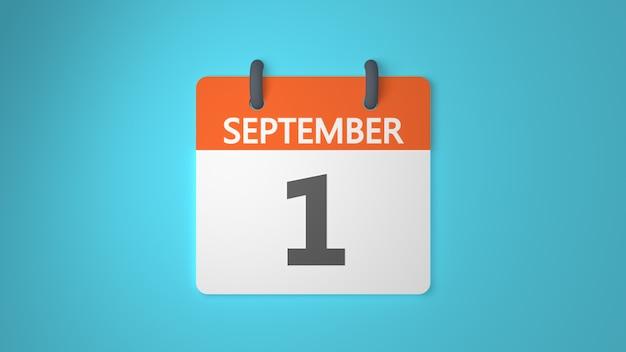 Calendario di rendering 3d 1 settembre