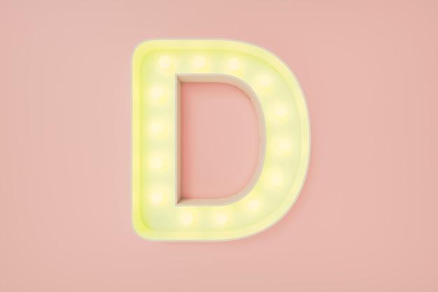 Rendering 3d. la lettera maiuscola d con lampadine.