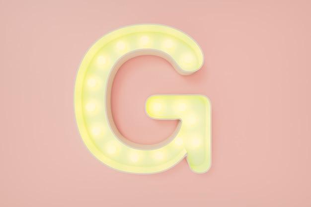 Rendering 3d. la lettera maiuscola g con lampadine.
