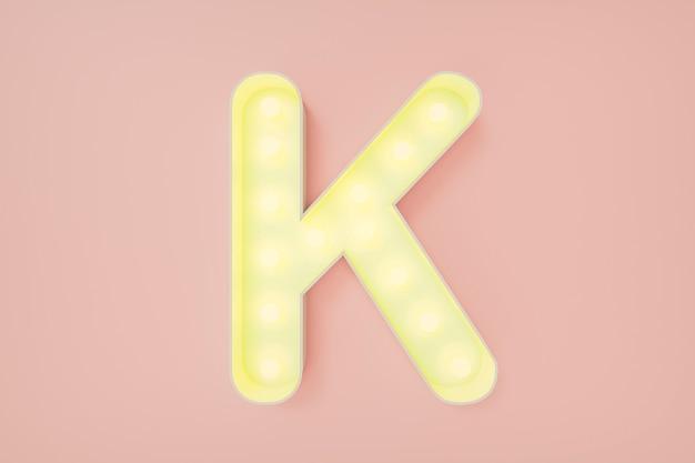 Rendering 3d. la lettera k maiuscola con lampadine