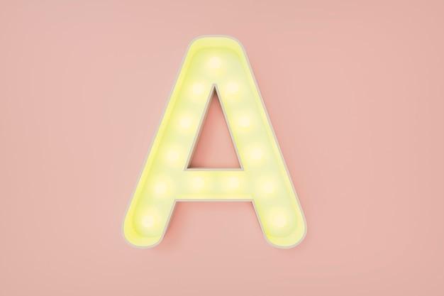 Rendering 3d. la lettera maiuscola a con lampadine.
