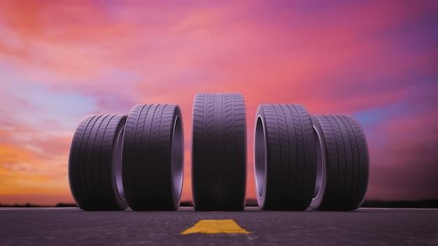 3d render pneumatici per auto rotolando sull'asfalto al tramonto in 4k