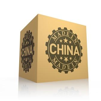 Rendering 3d di una scatola di cartone con made in china