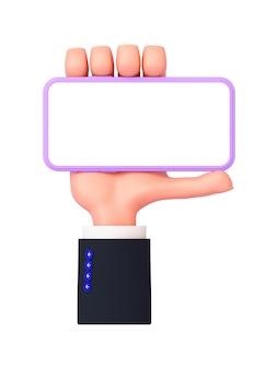 Rendering 3d, una mano di cartone animato con una manica tiene un telefono in orientamento orizzontale