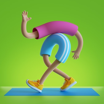 3d rendono le mani dei cartoni animati e le gambe che camminano isolate su sfondo verde
