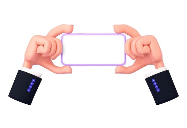 Rendering 3d, le mani dei cartoni animati con le maniche tengono in mano un telefono