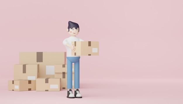3d render carattere di casual elegante maschio consegna giovane che tiene pacco cartone
