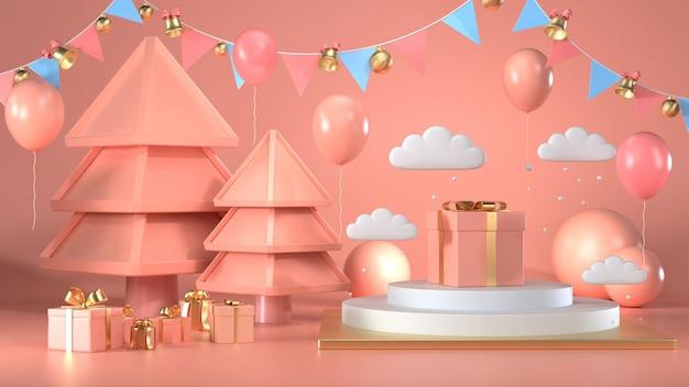 3d rendono del contenitore di regalo di natale decorano sul pastello di rosa del podio
