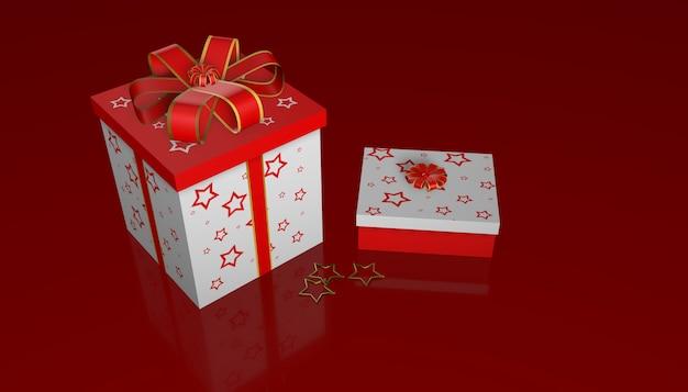 3d rendono dei contenitori di regalo di natale su priorità bassa di vetro rossa
