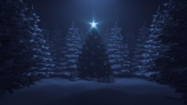 Rendering 3d albero di natale con una stella splendente e una ghirlanda nella foresta con neve che cade
